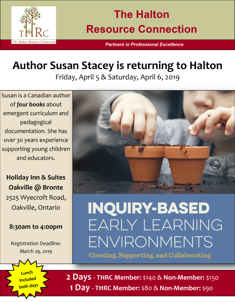 THRC Event Flyer - Inquiry-Based Early Learning Enviroments
