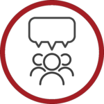 Icon of 3 people with speech bubbles