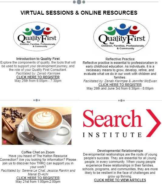Virtual Sessions & Online Resources Flyer with Logos and a Latte