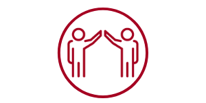two people high-fiving icon, representing In-Centre Support