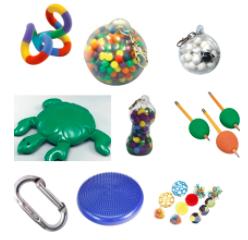 Fidget Bins with fidget toys