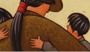 a cartoon adult hugging two children
