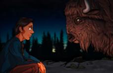 a cartoon adult sitting facing a cartoon buffalo