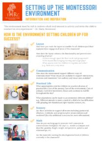 Montessori - Setting Up The Environment