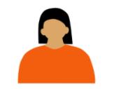 animated woman with an orange shirt